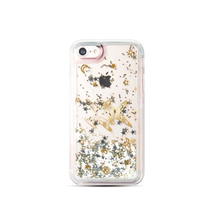 KAVARO Sequins Quicksand Hybrid TPU Edge PC Back Cover for iPhone 8/7/SE 2 (2020) - Plane