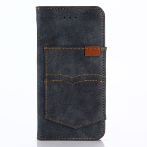 Retro Style Matte Leather Wallet Stand Cover for iPhone iPhone X/XS 5.8 inch - Dark Blue