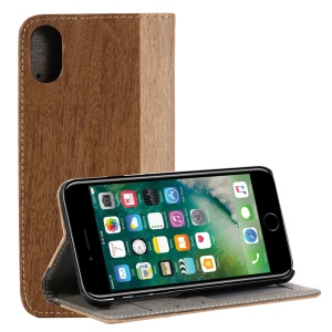 For iPhone iPhone X/XS 5.8 inch Wood Grain Wallet Stand Leather Casing Shell - Brown