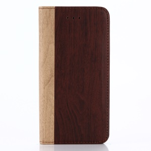 For iPhone X 5.8 inch Glossy Wood Texture Leather Wallet Cover - Wine Red