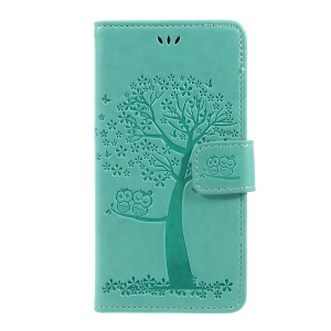 Imprint Tree Owl Magnetic Wallet PU Leather Stand Cell Phone Cover for iPhone X/XS 5.8 inch - Green