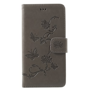 Imprint Butterfly Flowers Magnetic PU Wallet Stand Leather Cell Phone Cover for iPhone X/XS 5.8 inch - Grey