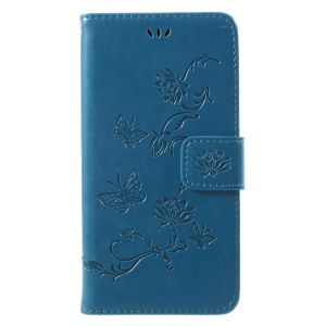 Imprint Butterfly Flowers Magnetic PU Wallet Stand Leather Cell Phone Shell for iPhone X/XS 5.8 inch - Blue