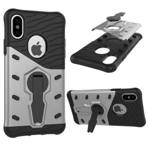 Sniper Kickstand PC TPU Hybrid Armor Case Shell for iPhone X/10 5.8 inch - Silver
