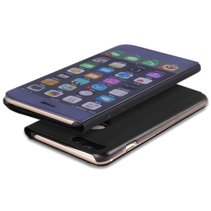 Plated Mirror Surface View Leather Stand Casing Cover for iPhone 7 Plus 5.5 inch - Black