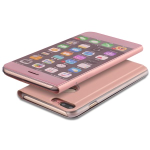 For iPhone 7 Plus 5.5 inch Plated Mirror Surface View Leather Stand Case - Rose Gold