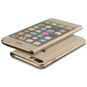 For iPhone 7 Plus 5.5 inch Plated Mirror Surface View Leather Stand Casing - Gold