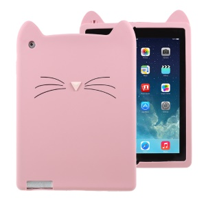 3D Moustache Cat Silicone Tablet Case Shell for iPad 4 3 2 - Pink