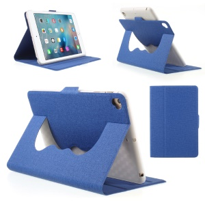 360-degree Rotary Stand Jeans Cloth Leather Tablet Case for iPad mini 5 - Blue