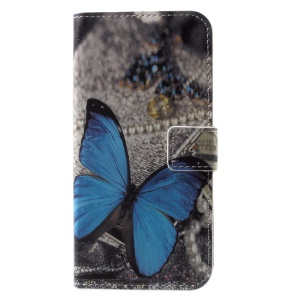 Pattern Printing Wallet Leather Flip Casing for iPhone X/XS 5.8 inch - Blue Butterfly