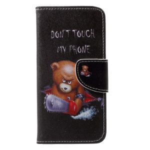 Cross Texture Leather Stand Flip Cover for iPhone X 5.8 inch - Angry Bear