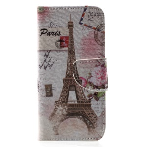 Cross Texture Leather Stand Flip Phone Cover for iPhone X/XS 5.8 inch - Eiffel Tower
