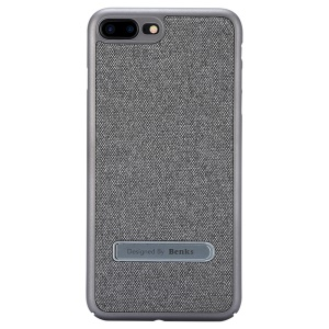 BENKS Cloth Coated PC Kickstand Cell Phone Cover Built-in Magnetic Holder Metal Sheet for Phone 8 Plus / 7 Plus - Silver