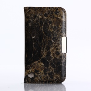 Marble Pattern Stand Leather Wallet Case for iPhone SE 5s 5 - Black