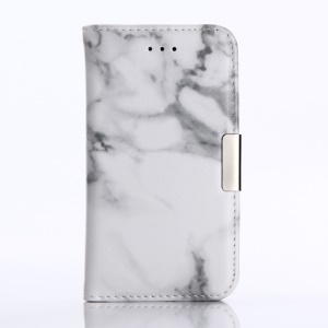 Marble Pattern Wallet Leather Case with Stand for iPhone SE 5s 5 - White