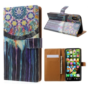 Pattern Printing Wallet Leather Stand Flip Case for iPhone X 5.8 inch - Colorful Tribal Pattern