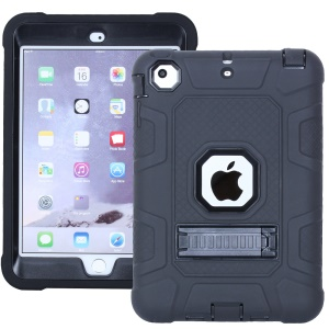 Anti-dust Detachable 2-in-1 Shock Proof Protective TPU + PC Kickstand Shell for iPad mini 1/2/3 - Black