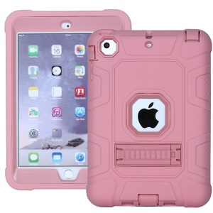 Anti-dust Detachable 2-in-1 Shock Proof Protective TPU + PC Kickstand Cover for iPad mini 1/2/3 - Rose Gold