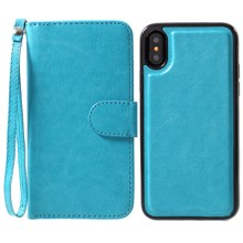 Detachable 2-in-1 Crazy Horse Magnetic Leather Wallet Cover + TPU Back Phone Shell for iPhone X/XS  5.8 inch - Blue