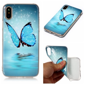 Luminous IMD Patterned TPU Cover para iPhone X / Ten 5.8 inch - brilhante azul borboleta