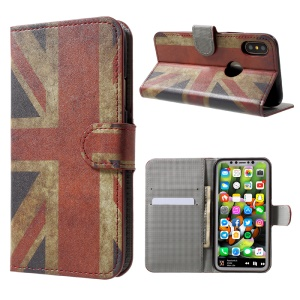 Magnetic Pattern Printing Wallet Leather Stand Flip Case for iPhone X /XS 5.8 inch- Vintage Union Jack
