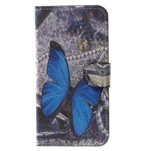 Magnetic Pattern Printing Wallet Leather Stand Flip Phone Accessory Cover for iPhone X /XS 5.8 inch - Blue Butterfly