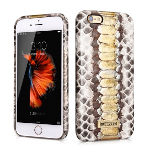 ICARER Python Python Skin Genuine Leather Coated PC Back Case for iPhone 6S Plus / 6 Plus 5.5 inch - White