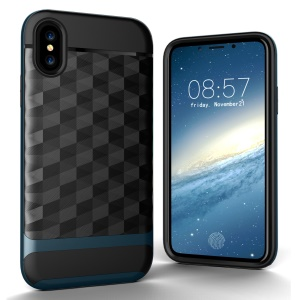 Rhombus TPU + PC Cellphone Cover Case for Apple iPhone X/XS 5.8inch - Blue