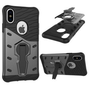 For iPhone X 5.8 inch Armor Kickstand PC + TPU Hybrid Phone Case Cover - Grey