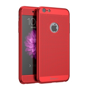 IPAKY Full Protection Heat-dissipating Mesh Design PC Phone Case for iPhone 6s Plus/6 Plus with Tempered Glass - Red