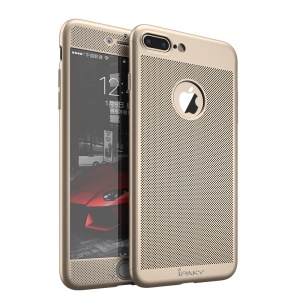 IPAKY Full Protection Anti-fingerprint Mesh Design PC Mobile Shell for iPhone 7 Plus with Tempered Glass Film - Gold