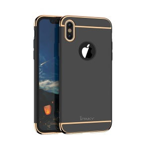 IPAKY 3-in-1 Electroplating PC Back Phone Case for iPhone X 5.8 inch - Black