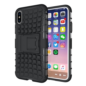 Anti-slip Tire Pattern Kickstand PC TPU Hybrid Case for iPhone X/XS 5.8 inch - Black