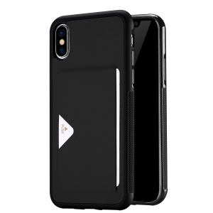 DUX DUCIS Pocard Series PU Leather Skin TPU Back Case with Card Slot for iPhone XS / X 5.8 inch - Black