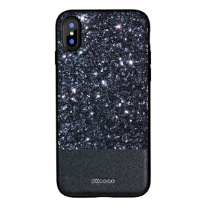 DZGOGO Luxury Series Shiny PU Leather Coated PC + Flexible TPU Frame Hybrid Phone Case for iPhone X 5.8 inch - Black
