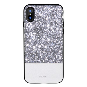 DZGOGO Luxury Series Bling PU Leather Coated PC + Flexible TPU Frame Combo Back Cover for iPhone X 5.8 inch - Silver