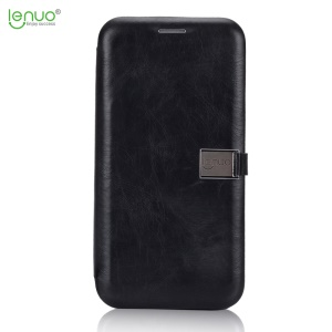 LENUO para iPhone X 5.8 inch Crazy Horse PU Leather Card Holder Phone Case - negro