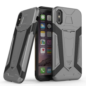 Armor Plastic TPU Hybrid Phone Cover with Kickstand for iPhone X 5.8 inch - Grey