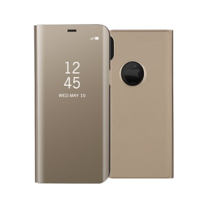 Plated Mirror Information View Leather Stand Case Accessory for iPhone  XS/ X 5.8 inch - Gold