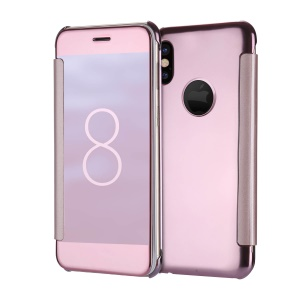 Folio view Mirror Plated Mobile Back Casing (PC + PU Leather) for iPhone X 5.8 inch - Rose Gold