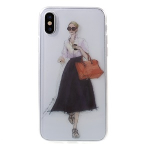 Pattern Printing IMD TPU Soft Cell Phone Casing for iPhone X 5.8 inch - Lady