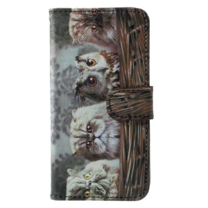 Pattern Printed Wallet Leather Stand Mobile Phone Casing with Strap for iPhone X 5.8 inch - Owl and Cats