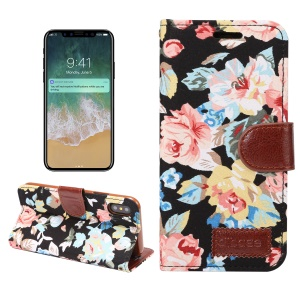 Flower Cloth Skin Card Holder Leather Stand Case for iPhone X 5.8 inch - Black