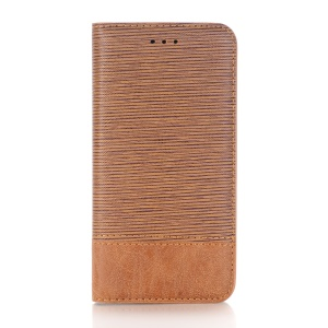 Toothpick Texture Card Holder Leather Stand Mobile Phone Shell for iPhone X 5.8 inch - Brown