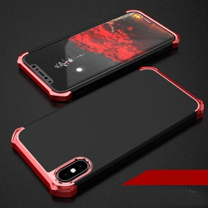 Kylin Series Shockproof 3-in-1 Anodizing Process Plastic Hard Phone Case Shell for iPhone X/XS 5.8 inch - Black / Red