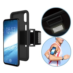 For iPhone X/XS 5.8inch Soft Silicone Sports Running Armband with Light Reflection Stripe - Black