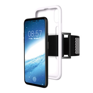 Soft Silicone Sports Armband Case for iPhone X/XS 5.8inch with Light Reflection Stripe - White