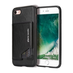 PIERRE CARDIN Genuine Leather Coated Card Slot TPU Mobile Phone Case for iPhone SE 2nd Gen (2020)/8/7 / iPhone 8 - Black