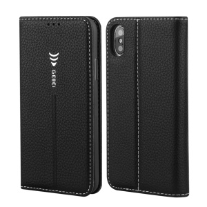 GEBEI Litchi Texture Leather Card Slots Stand Case for iPhone X/XS 5.8 inch - Black