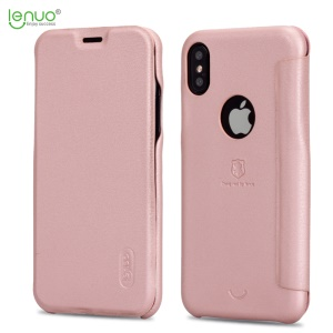 LENUO Ledream Series Card Holder Leather Phone Case for iPhone X 5.8 inch - Rose Gold